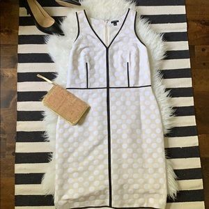 Ann Taylor ivory/white dotted dress w black piping